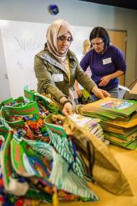 Volunteers assemble kits