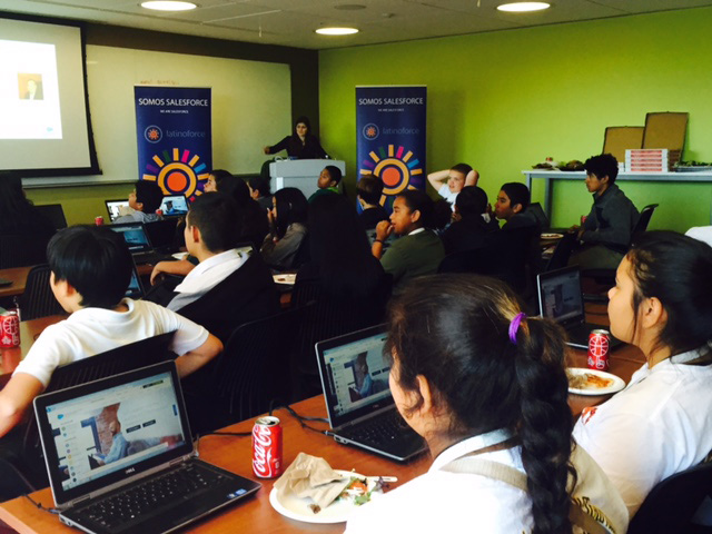 Students code at Salesforce