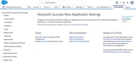NPSP Application Settings