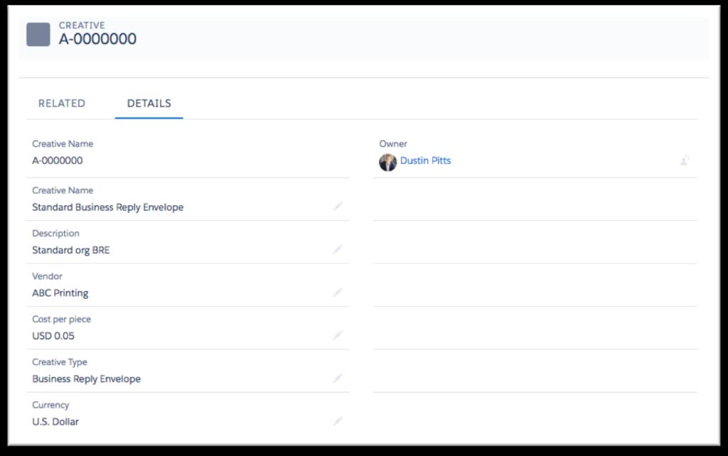 screenshot of sample creative record
