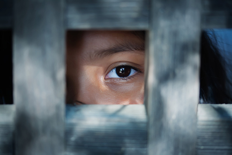 Child looking through wooden frame