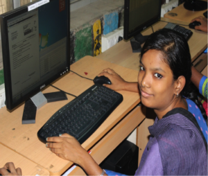 girl at computer who attended workshop