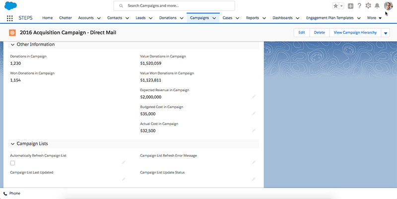 Salesforce Nonprofit Success Pack - campaign screenshot example