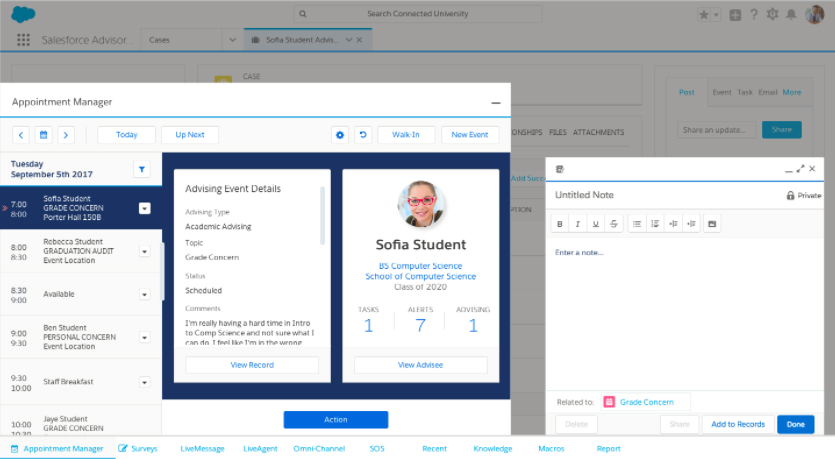 Salesforce Advisor Link advising console, manage advising and note capture