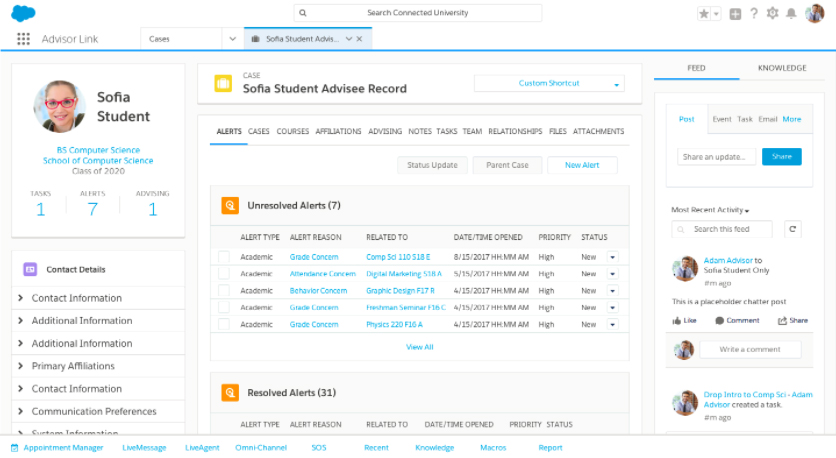 Salesforce Advisor Link unified student record