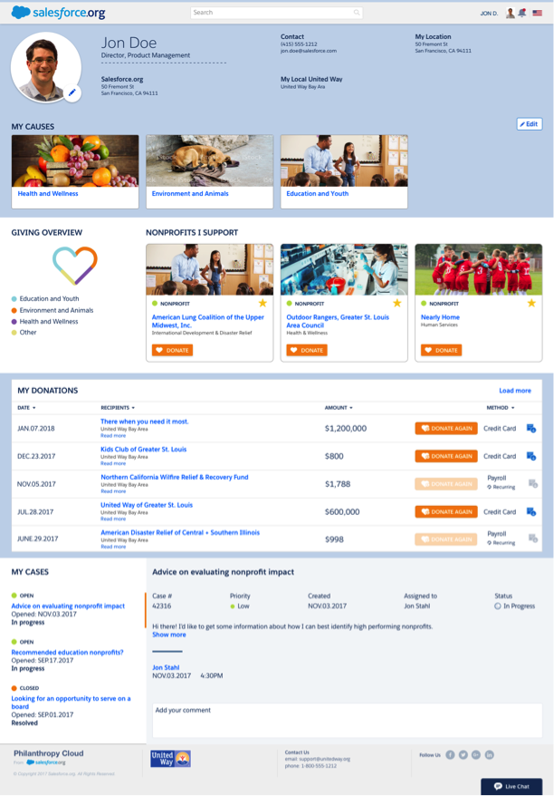 Corporate giving program - employee profile page with Salesforce.org Philanthropy Cloud