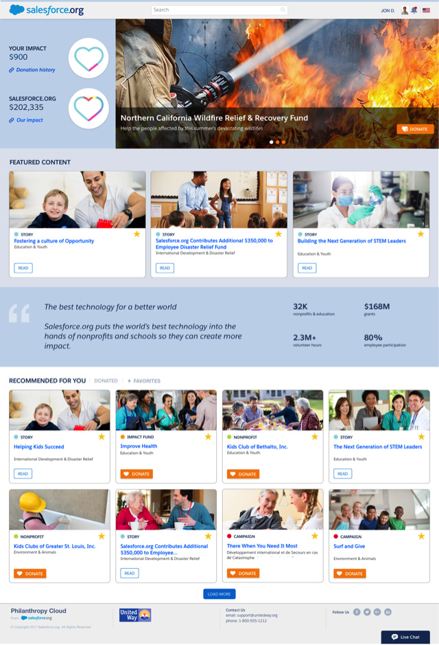Salesforce.org Philanthropy Cloud is a new platform for employee engagement through corporate giving and volunteering.