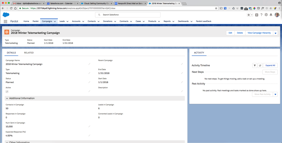 Screenshot of fundraising software as an example of a telemarketing campaign