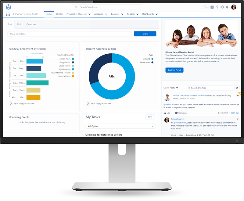 Salesforce for K-12 helps with school marketing, student success, fundraising and more.