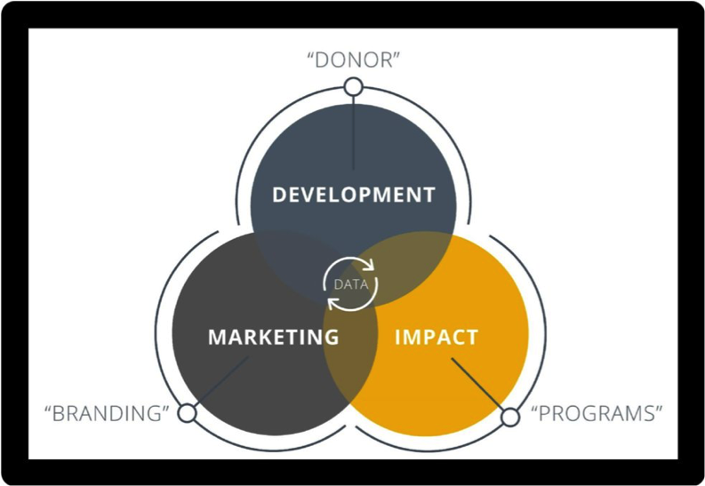 how data intersects with donors, branding, and programs through nonprofit marketing, impact measurement and fundraising or development.