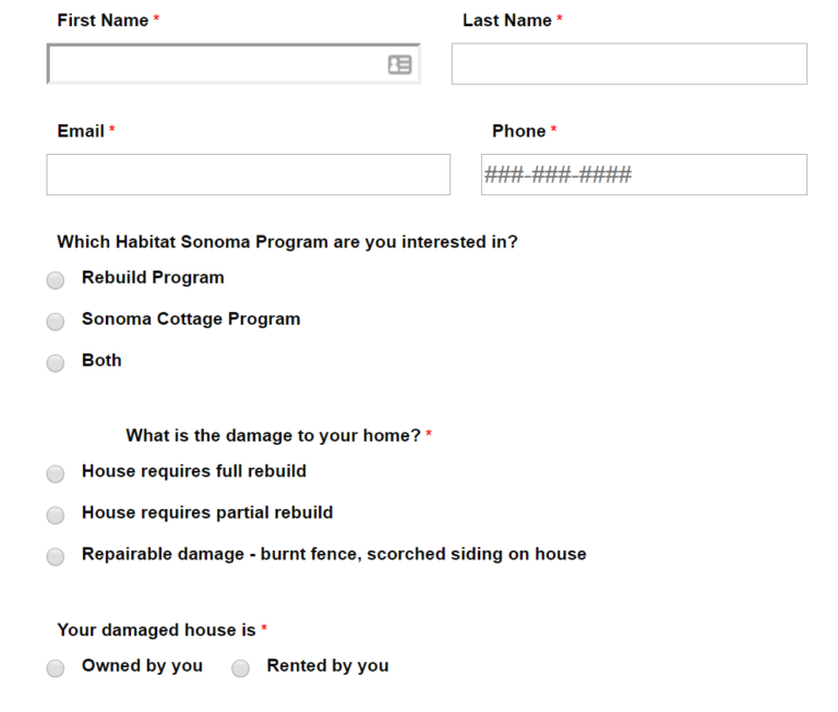 Habitat Sonoma's disaster intake form quickly adds info into HomeKeeper, a Salesforce app.