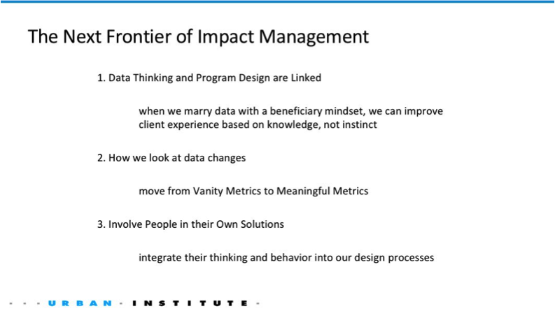 Slide from Dr. Shena Ashley, The Urban Institute on nonprofit impact measurement