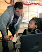 Salesforce employee, Will Brooks, participates in Hour of Code with local IPS student during CS Ed Week, Dec 2017