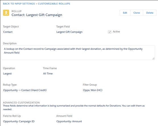 Donation rollups - aggregating a data field for reporting and customization.