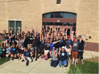 Salesforce Indianapolis employees celebrate volunteer beautification day at IPS James Russell Lowell School 51