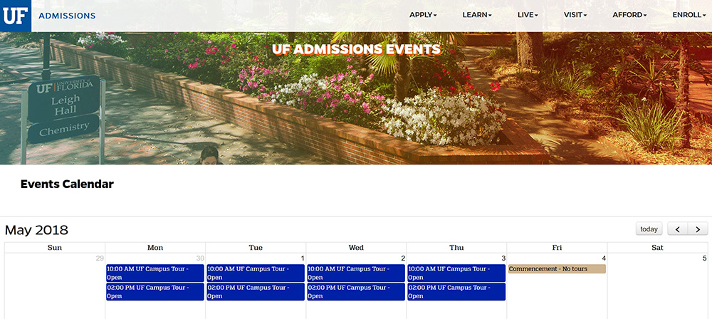 University of Florida Admissions Events calendar page