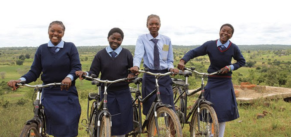 girls with buffalo bicycles