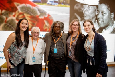 Sarah Chan, Margy Wilkinson, Willie Phillips, Pam Uzzell and Katharine Bierce at a BOLDforce event at Salesforce in San Francisco. Photo credit: Lyra Lopez
