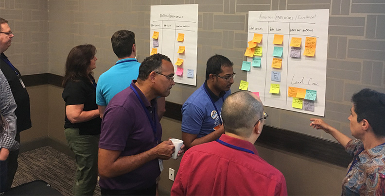 Group discussing sticky notes and prioritizing ideas