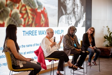 L to R: Sarah Chan (Salesforce), Margy Wilkinson (Friends of Adeline), Willie Phillips (Friends of Adeline), and Pam Uzzell (filmmaker)