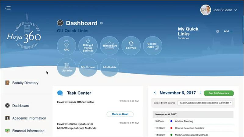 Salesforce.org Education Cloud powers the Georgetown Hoya360 dashboard shown here.