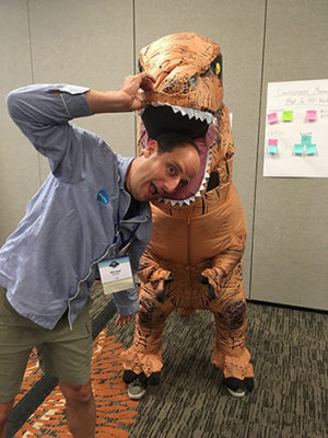 Open source collaboration can be fun! Photo of Michael Kolodner and Jace Bryan (#Sprinty) at the Denver Sprint in July