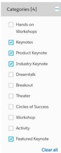 Find Dreamforce keynotes in Agenda Builder