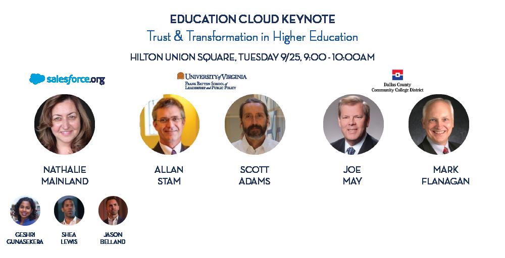 Speakers at the Dreamforce 2018 Education Cloud keynote