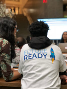 Students learn coding skills with Salesforce volunteers