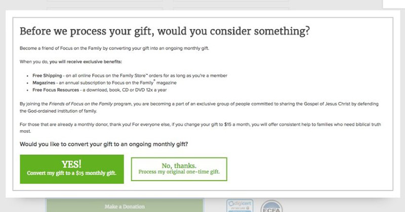 Try adding a prompt for recurring gift before one-time donation completion