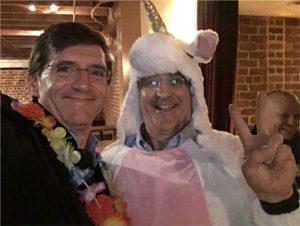 Corey Snow and unicorn Charlie Isaacs