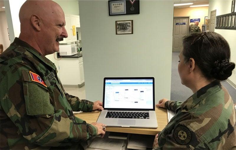 Bill teaching Salesforce skills to State Guard headquarters personnel
