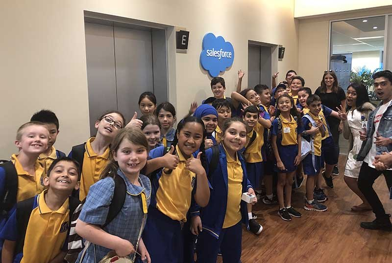 Bexley Public School students in Sydney, Australia and Futureforce graduates enjoying their day touring the Sydney office
