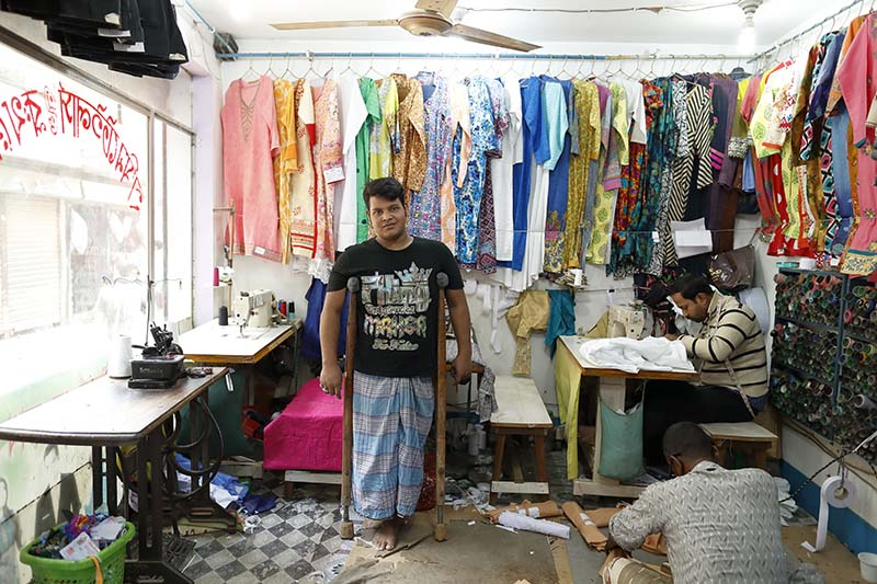 Abdus in his current workplace in Dhaka, Bangladesh