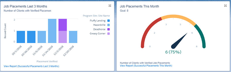 The Last 3 Months chart enables staff to see trends at the organization and at the program site level.
