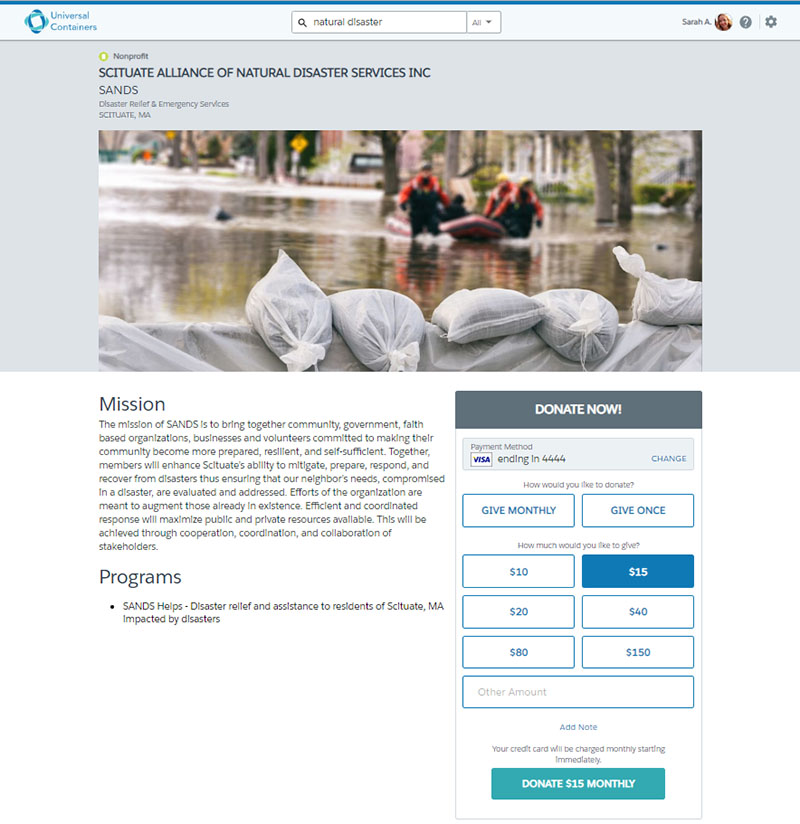 An example of an online giving page for disaster relief