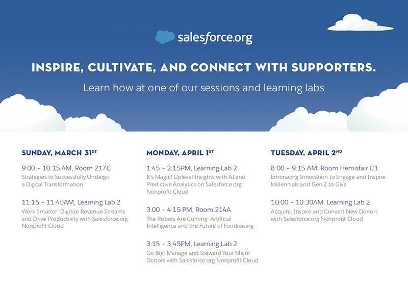 Showing off Nonprofit Cloud and how it can help fundraisers inspire, cultivate and connect with supporters in four Learning Labs
