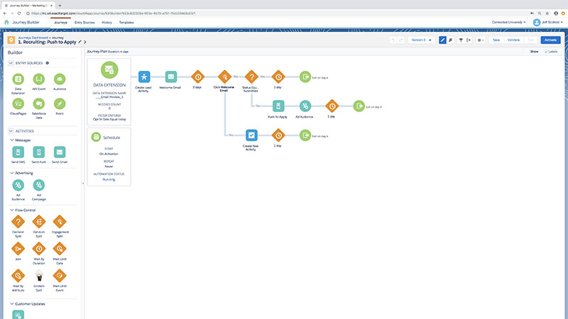 An example of a student engagement journey workflow in Salesforce.org Education Cloud