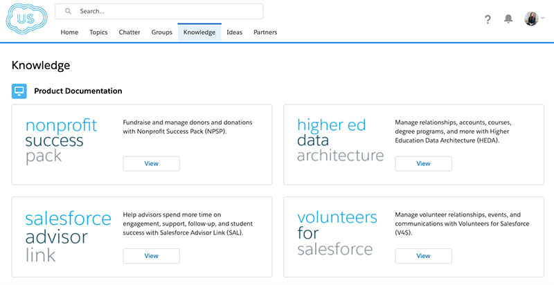 Image: Check the newly updated Knowledge Tab in the Power of Us Hub (now in Lightning!) for product documentation, best practice and customer service knowledge articles.