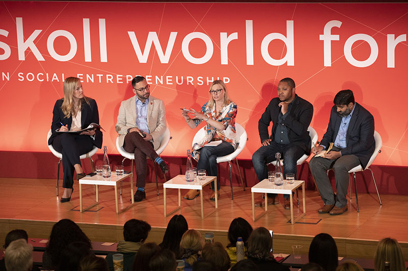 A panel discussion at Skoll World Forum 2019. Photo courtesy of the Skoll Foundation.