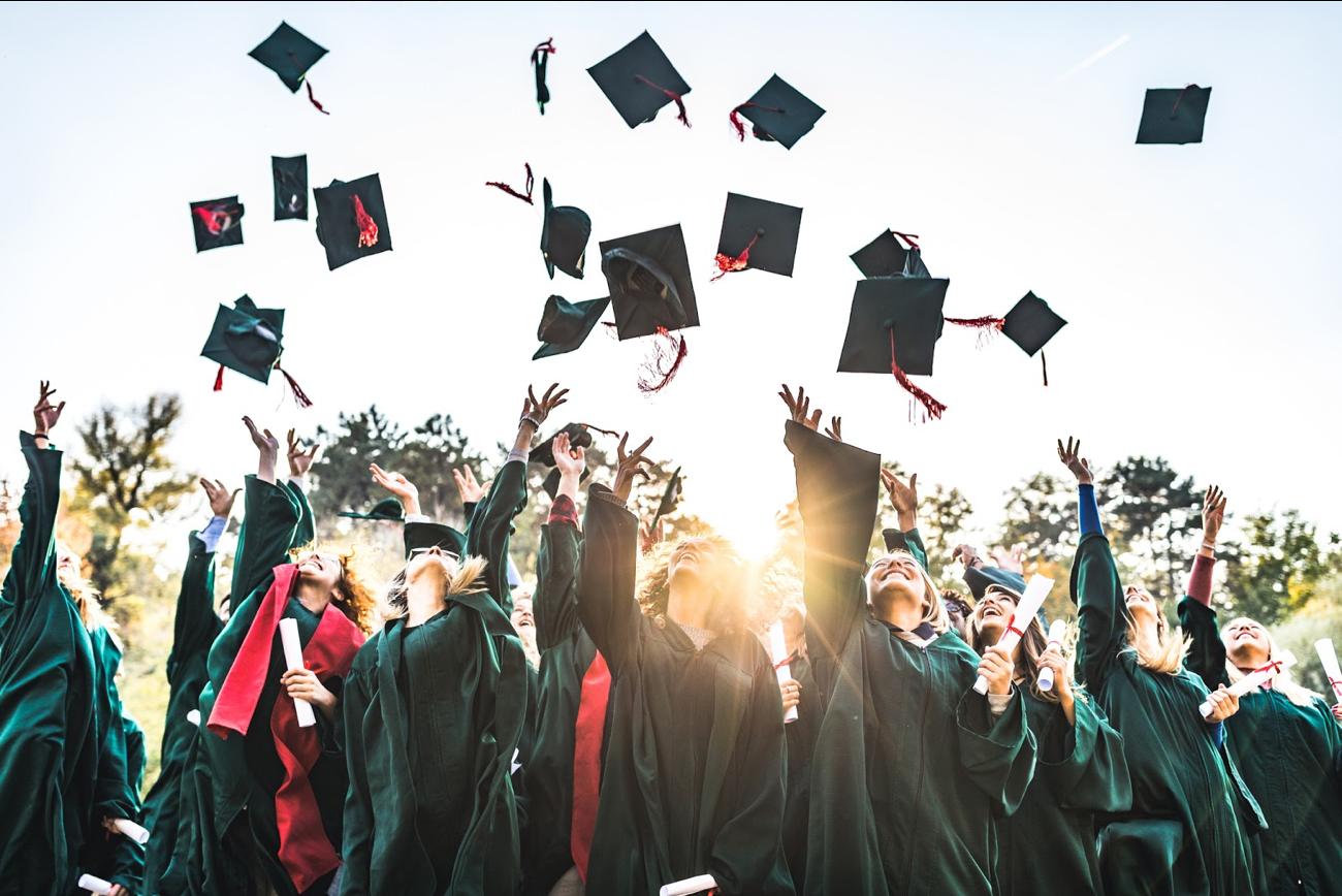 Photo of happy college graduates