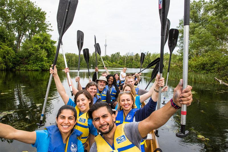 A Salesforce team enjoying an outdoor bonding activity.