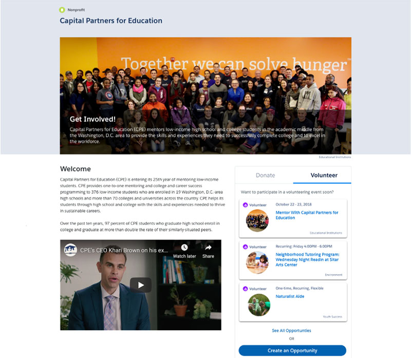 Image of a donation page in Philanthropy Cloud