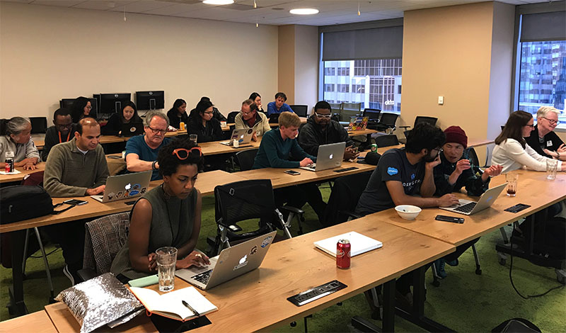 "Salesforce employees volunteer their skills at ShelterTech's ""datathon"" workshop at the Salesforce office"