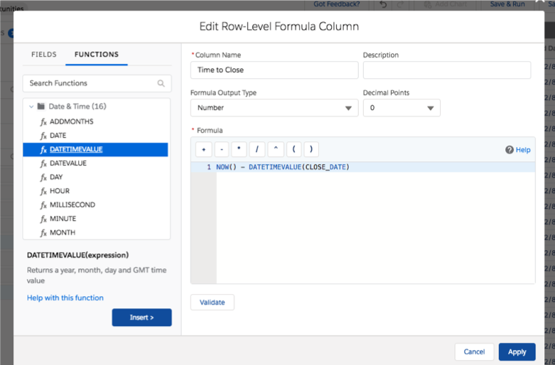 Edit Row Level Formula Column