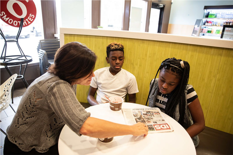 Big Sister Melanie Walker takes Littles (and siblings) Empress and Corday out for frozen yogurt in Bloomington, Indiana. They spend a lot of quality time together — playing games, reading, and trying new food. Melanie is also teaching Empress how to play the piano.