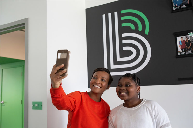 Big Sister Jasmin French and Little Sister Mishelle spend time together at the Big Brothers Big Sisters Indianapolis office. Jasmin is encouraging Mishelle to step out of her comfort zone. There are currently 33,000 youth nationwide waiting to be matched with a Big (mentor).