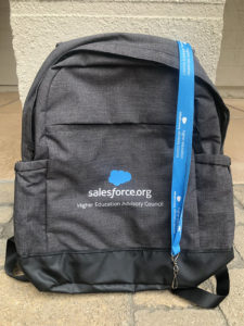Look for the Higher Ed Advisory Council and backpack at Salesforce.org events, and say hello to Council members!