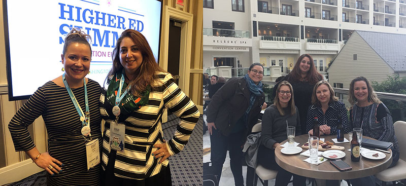 Joanna Iturbe and Florence Parodi at Higher Ed Summit (Left). Higher Ed Advisory Council members at Higher Ed Summit (Right).