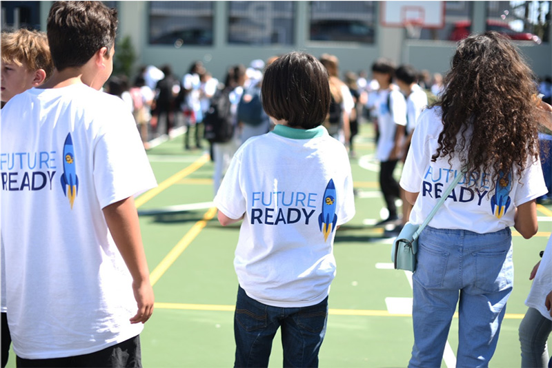 Students at Presidio Middle School at part of a carnival celebrating Salesforce reinvesting in public education.